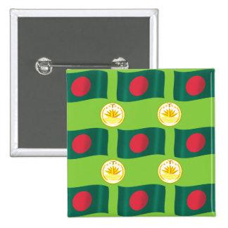 Bandeira e crista de Bangladesh Bóton Quadrado 5.08cm