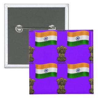 Bandeira e crista de India Bóton Quadrado 5.08cm