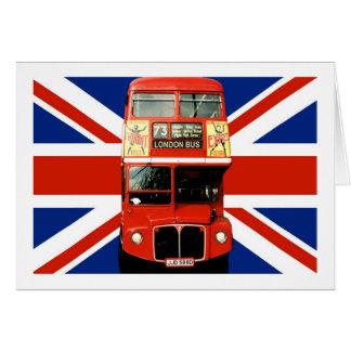 Bandeira e ônibus britânicos de Londres Cartão Comemorativo
