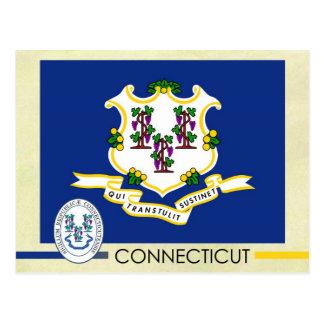 Bandeira e selo do estado de Connecticut Cartão Postal