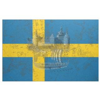 Bandeira e símbolos da suecia ID159 Tecido