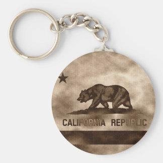 Bandeira envelhecida de Califórnia Chaveiro