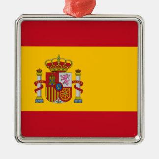 Bandeira espanhola ornamento quadrado cor prata