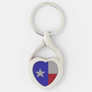 Bandeira Glittery de Texas Chaveiro Coração Torcido Cor Prata