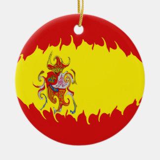 Bandeira Gnarly da espanha Ornamento De Cerâmica Redondo