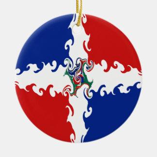 Bandeira Gnarly da República Dominicana Ornamento De Cerâmica Redondo
