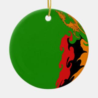 Bandeira Gnarly da Zâmbia Ornamento De Cerâmica Redondo