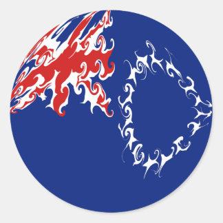 Bandeira Gnarly das Ilhas Cook Adesivos Em Formato Redondos