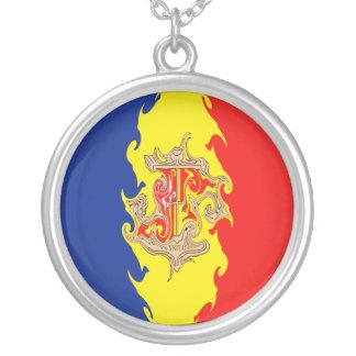 Bandeira Gnarly de Andorra Colar Com Pendente Redondo