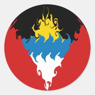 Bandeira Gnarly de Antígua e de Barbuda Adesivos Redondos