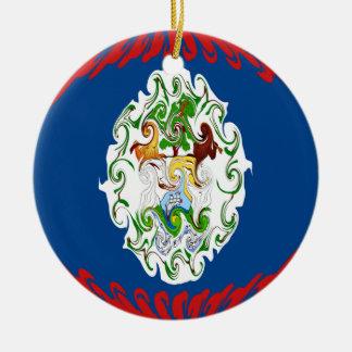 Bandeira Gnarly de Belize Ornamento De Cerâmica Redondo