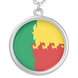 Bandeira Gnarly de Benin Colar Com Pendente Redondo