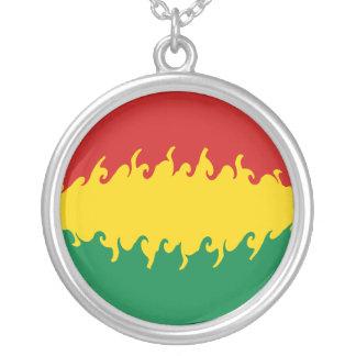 Bandeira Gnarly de Bolívia Colar Com Pendente Redondo