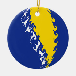 Bandeira Gnarly de Bósnia - de Herzegovina Enfeites Para Arvores De Natal