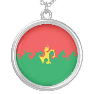 Bandeira Gnarly de Burkina Faso Colar Com Pendente Redondo