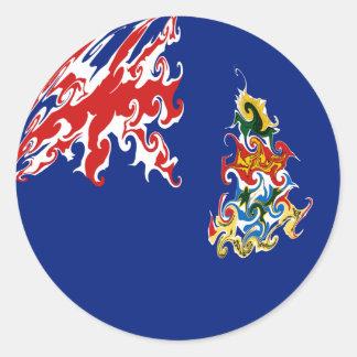 Bandeira Gnarly de Cayman Islands Adesivos Em Formato Redondos