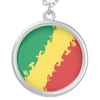Bandeira Gnarly de Congo-Brazzaville Colar Com Pendente Redondo