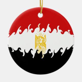 Bandeira Gnarly de Egipto Ornamento De Cerâmica Redondo