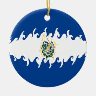 Bandeira Gnarly de El Salvador Ornamento De Cerâmica Redondo
