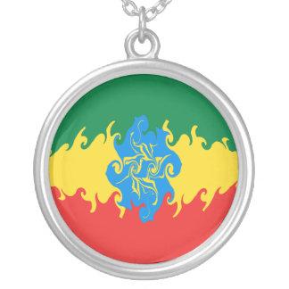 Bandeira Gnarly de Etiópia Colar Com Pendente Redondo