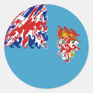 Bandeira Gnarly de Fiji Adesivo Redondo