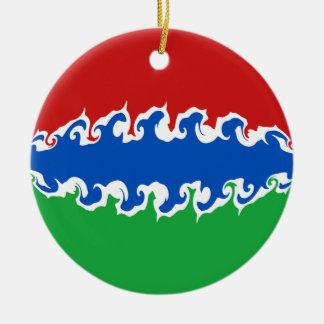 Bandeira Gnarly de Gambia Ornamento De Cerâmica Redondo