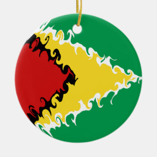 Bandeira Gnarly de Guyana Ornamento De Cerâmica Redondo