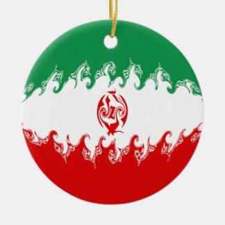 Bandeira Gnarly de Irã Ornamento De Cerâmica Redondo