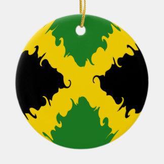 Bandeira Gnarly de Jamaica Ornamento De Cerâmica Redondo