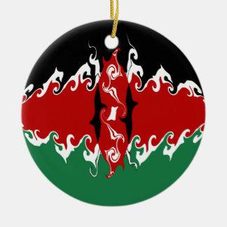 Bandeira Gnarly de Kenya Ornamento De Cerâmica Redondo