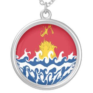 Bandeira Gnarly de Kiribati Colar Banhado A Prata