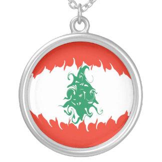 Bandeira Gnarly de Líbano Colar Banhado A Prata