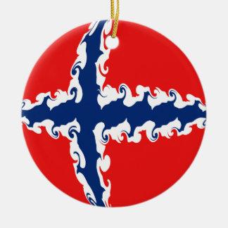 Bandeira Gnarly de Noruega Ornamento De Cerâmica Redondo