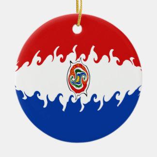 Bandeira Gnarly de Paraguai Ornamento De Cerâmica Redondo