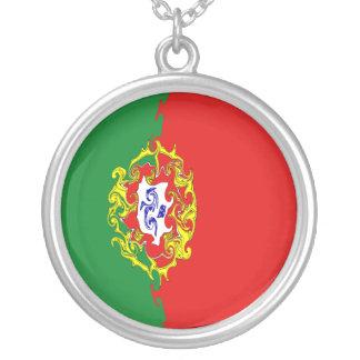 Bandeira Gnarly de Portugal Colar Com Pendente Redondo