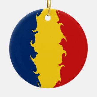 Bandeira Gnarly de República do Tchad Ornamento De Cerâmica Redondo