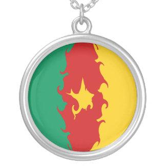 Bandeira Gnarly de República dos Camarões Colar Com Pendente Redondo