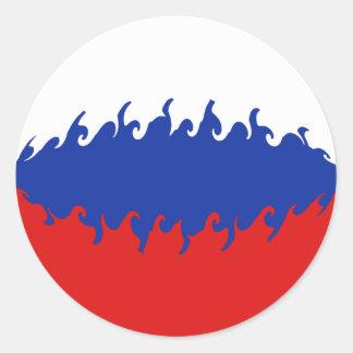 Bandeira Gnarly de Rússia Adesivo Redondo