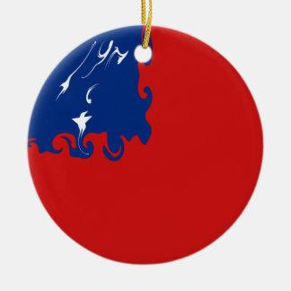 Bandeira Gnarly de Samoa Ornamento De Cerâmica Redondo