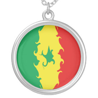 Bandeira Gnarly de Senegal Colar Com Pendente Redondo