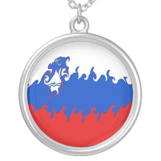Bandeira Gnarly de Slovenia Colar Com Pendente Redondo
