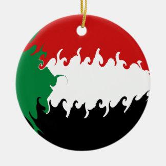Bandeira Gnarly de Sudão Ornamento De Cerâmica Redondo