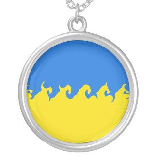 Bandeira Gnarly de Ucrânia Colar Com Pendente Redondo