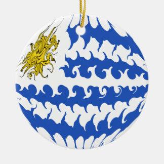 Bandeira Gnarly de Uruguai Ornamento De Cerâmica Redondo