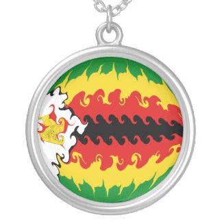 Bandeira Gnarly de Zimbabwe Colar Com Pendente Redondo