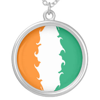 Bandeira Gnarly do d'Ivoire da costa Colar Com Pendente Redondo