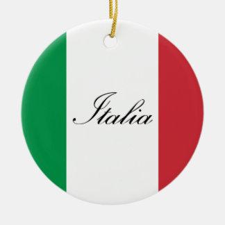 Bandeira italiana - bandeira de Italia - Italia Ornamento De Cerâmica Redondo