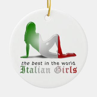 Bandeira italiana da silhueta da menina ornamento de cerâmica redondo