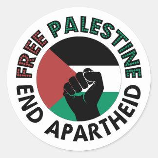 Bandeira livre de Palestina do Apartheid do fim de Adesivos Em Formato Redondos