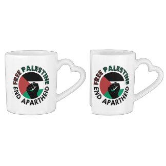 Bandeira livre de Palestina do Apartheid do fim de Canecas Para Casais